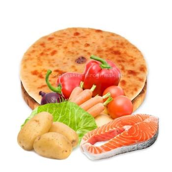 Осетинский пирог с лососем и овощами