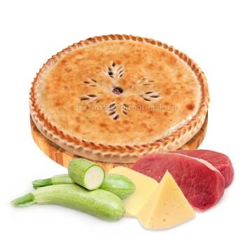 Осетинский пирог с мясом, сыром и кабачком