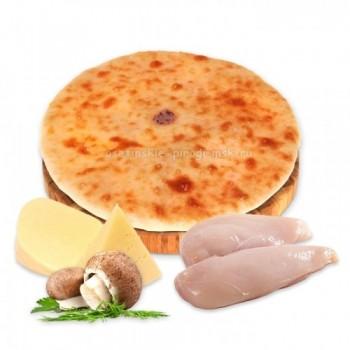 Осетинский пирог с курицей, сыром и грибами