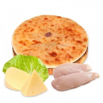 Осетинский пирог с курицей, сыром и капустой