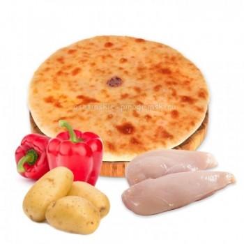 Осетинский пирог с курицей, картошкой и болгарским перцем