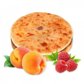 Осетинский пирог с персиком и малиной