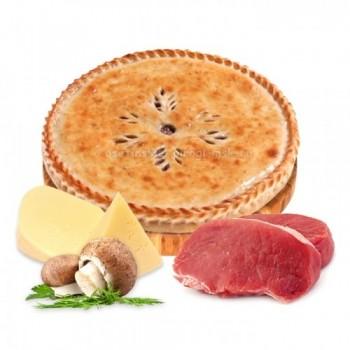 Осетинский пирог с мясом, сыром и грибами