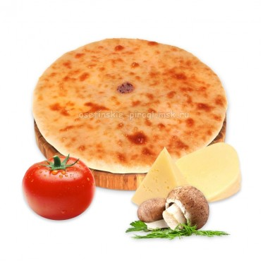 Осетинский пирог с сыром, грибами и помидорами