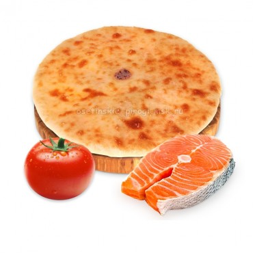 Осетинский пирог с семгой и помидорами