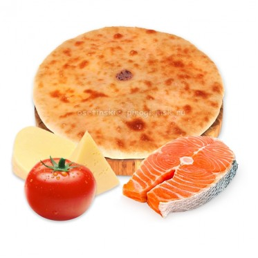 Осетинский пирог с семгой, сыром и помидорами
