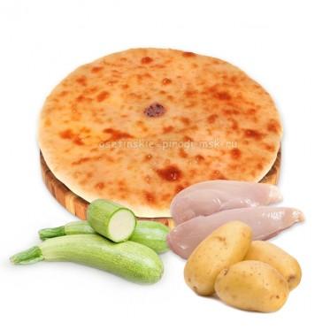 Осетинский пирог с курицей, картошкой и кабачками
