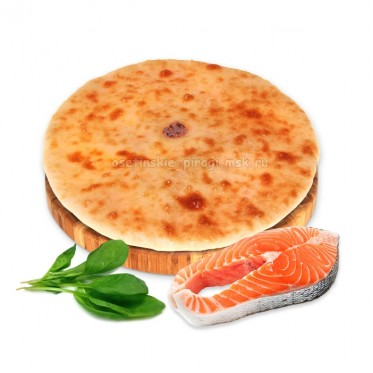 Осетинский пирог с лососем, сыром и шпинатом