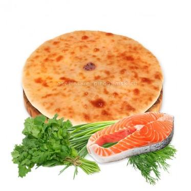 Осетинский пирог с лососем и зеленью