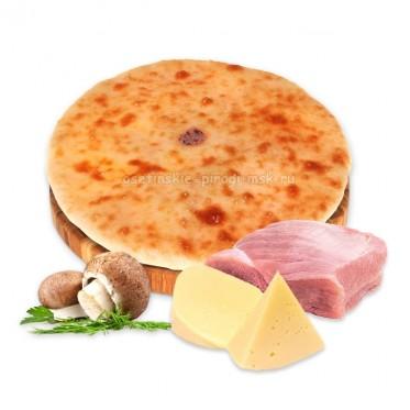 Осетинский пирог с индейкой, сыром и грибами