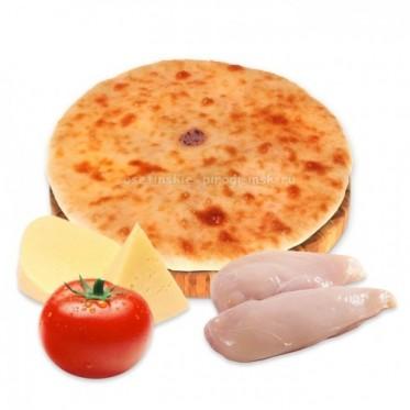 Осетинский пирог с курицей, сыром и помидором